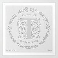 Joshua 24:15 - (Letterpress) Monogram T Art Print