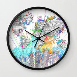 world map city skyline 6 Wall Clock