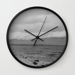 thunderstorm approaching at peroj beach croatia istria black white Wall Clock