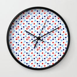 new polka dot 17 -dark blue, light blue and red Wall Clock