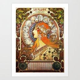 Alphonse Mucha La Plume Zodiac Art Print
