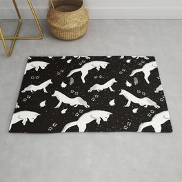 Funny Fox Winter Pattern - White on Black - Mix & Match with Simplicity of life Rug
