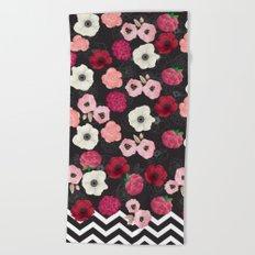 Chevron Flowers Beach Towel