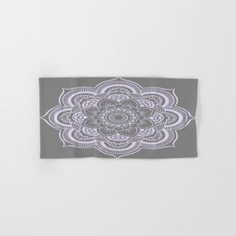Mandala Flower Gray & Lavender Hand & Bath Towel