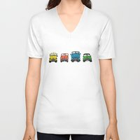 cars V-neck T-shirts featuring Cars by Sol Fernandez