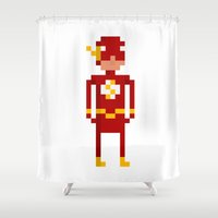 flash Shower Curtains featuring Flash by Bryan