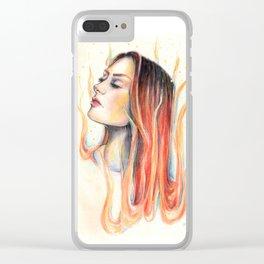 """""""Blaze"""" Fire spirit Watercolour portrait Clear iPhone Case"""