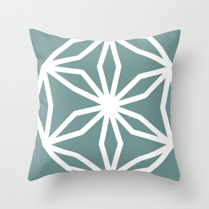 CUBIC FLOWER PATTERN - blue Throw Pillow