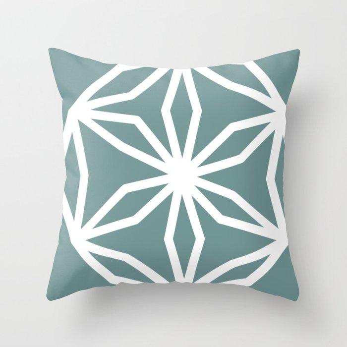 CUBIC FLOWER PATTERN - blue Throw Pillow