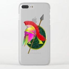 Spartan Helmet Colorful Clear iPhone Case