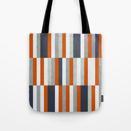 Orange, Navy Blue, Gray / Grey Stripes, Abstract Nautical Maritime Design by Tote Bag