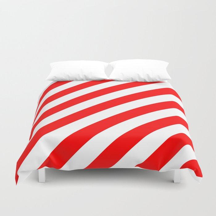 Diagonal Stripes (Red/White) Duvet Cover