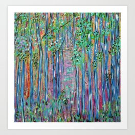 Teal Blue Abstract Forest Landscape, Forest Secrets, Fantasy Fairy Art Art Print