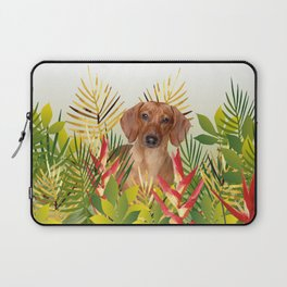 Little Dog with with Palm leaves Laptop Sleeve
