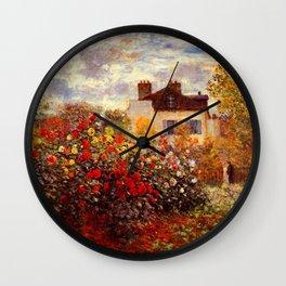 The Garden of Monet at Argenteuil, 1873 by Claude Monet Wall Clock