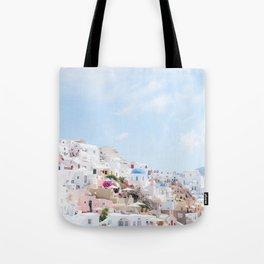 Pastel Colored View on Santorini Greece Tote Bag
