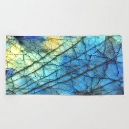 Royal Labradorite Crystal Agate Gemstone Print Beach Towel