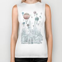 edinburgh Biker Tanks featuring Voyages Over New York by David Fleck