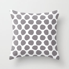 Gray (grey) and white large polka dots pattern Throw Pillow