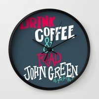 john green Wall Clocks featuring Coffee and John Green by Chelsea Herrick