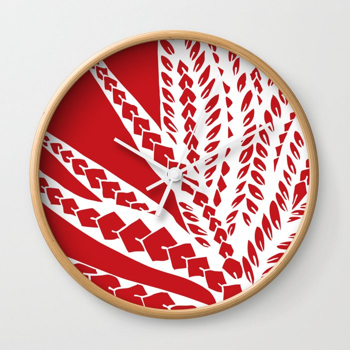 4ca7c167b Red Polynesian Geometric Floral Chic Tribal Tattoo Wall Clock by ...