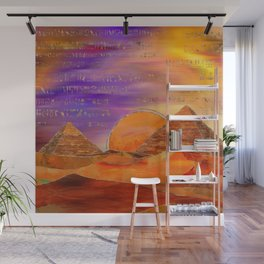 Egyptian pyramids abstract landscape Mixed Media Wall Mural