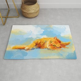 Cat Dream - orange tabby cat painting Rug