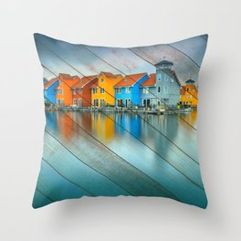 Faux Wood Blue Morning at Waters Edge Groningen Netherlands Europe Coastal Landscape Photograph Throw Pillow