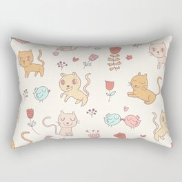 Cute Cats And Birds Pattern Rectangular Pillow