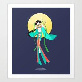 Japanese Geisha and the Moon Art Print