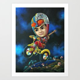 Super Rider ,The boy ride the bicycle in the space Hand painted Acrylic on canvas Art Print