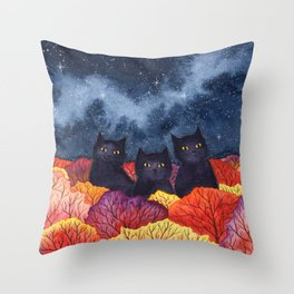 Three Black Cats in Autumn Watercolor Throw Pillow