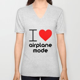 I (Heart) Airplane Mode Unisex V-Neck
