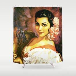 Jesus Helguera Painting of a Mexican Calendar Girl with Fan Shower Curtain
