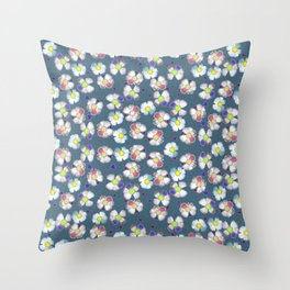 delft blue wild rose Throw Pillow