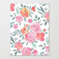 Amelia Floral in Pink and Peach Watercolor Canvas Print