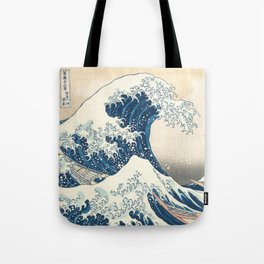 The Great Wave off Kanagawa by Katsushika Hokusai from the series Thirty-six Views of Mount Fuji Tote Bag