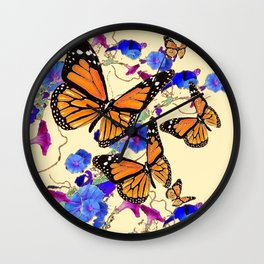 YELLOW MONARCH BUTTERFLY GARDEN & BLUE MORNING GLORIES ART Wall Clock