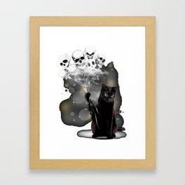 black cat skull scare raglan sleeve animals play happy cat Framed Art Print