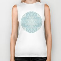 bedding Biker Tanks featuring Floral Pattern in Duck Egg Blue & Cream by micklyn