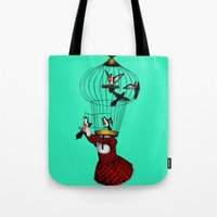cage Tote Bags featuring the cage by cappellosenzatesta