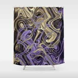 Gold & Ultra Violet Liquid Marble Love Shower Curtain
