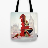 england Tote Bags featuring ENGLAND by mark ashkenazi