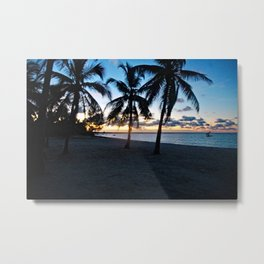 Sunrise Tropical Beach TPalm trees Landscape Metal Print
