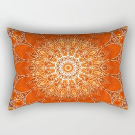 Detailed Orange Boho Mandala Rectangular Pillow