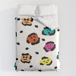 Funny leopard fur pattern with faces Comforters