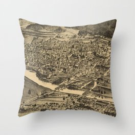Vintage Map of Corning New York (1882) Throw Pillow