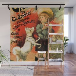 Vintage French hot chocolate advert, boy, white dog Wall Mural