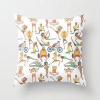 gym Throw Pillows featuring Gym Buddies by Sid's Shop