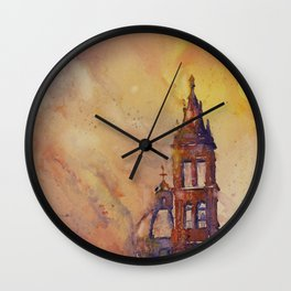 Watercolor painting of Cathedral bell-tower in the colonial city of Morelia at sunset- Mexico Wall Clock